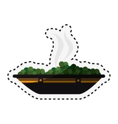 Dish with salad isolated icon vector