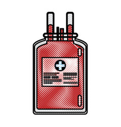 drawing plastic bag blood donate health care vector image