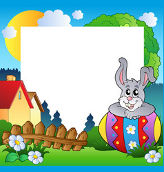 easter frame with egg and bunny vector image