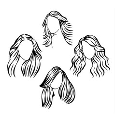 face icons with hair vector image