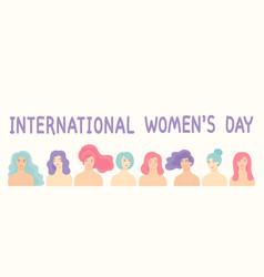 flat cartoon design for international women vector image