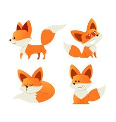 fox- modern set of flat vector image