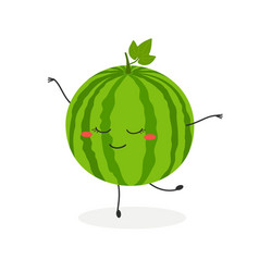 funny cartoon watermelon ballerina vector image