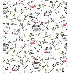 Garden with Birds Seamless Pattern vector image