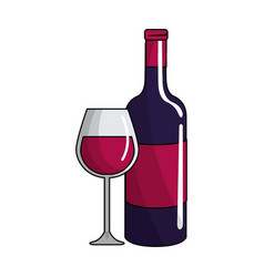 glass and bottle wine icon vector image