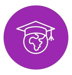 Globe in graduation cap line icon vector