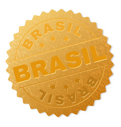Gold brasil award stamp vector