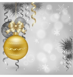 gold Christmas decorations on gray vector image vector image