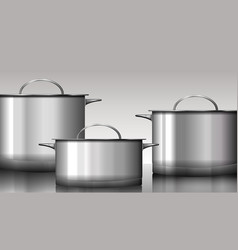 Group of stainless steel kitchenware isolated on vector