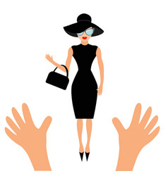 Hands reaching to woman in black hat bag and vector