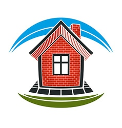 Home conceptual simple house constructed wi vector