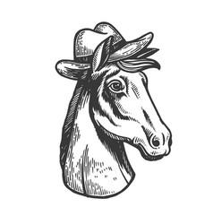 horse in cowboy hat engraving vector image