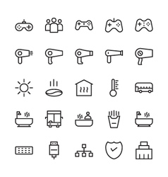 Hotel outline icons 5 vector