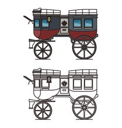 Isolated carriage or britzchka contour perth cart vector