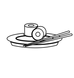 Japanese sushi food dish stick culture outline vector