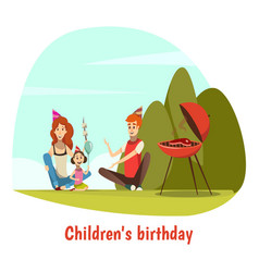 Kids birthday celebration composition vector