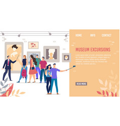 Landing page promoting cultural museum excursions vector