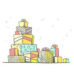 large pile of red and green gifts standin vector image