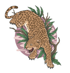 leopard wild animal climb tree vector image
