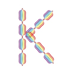 Letter K made in rainbow colors vector image