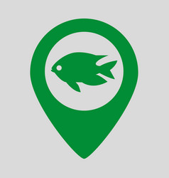 Map pointer with fish icon on grey background vector
