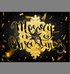 Merry christmas lettering greeting card for vector