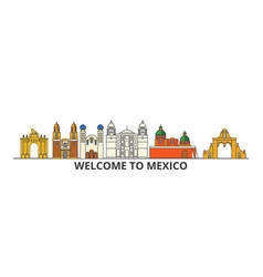 Mexico outline skyline mexican flat thin line vector