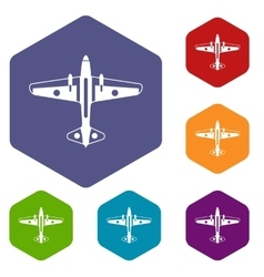 Military aircraft icons set vector image