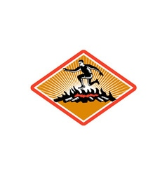 Obstacle Racing Jumping Fire Woodcut vector