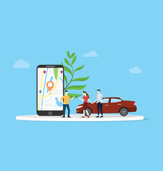 online car sharing for city transportation with vector image