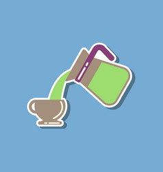 Paper sticker on stylish background cup coffee vector
