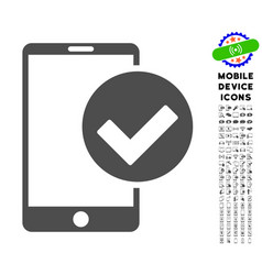 Phone ok icon with set vector