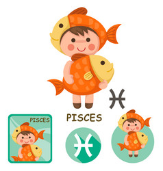 Pisces collection zodiac signs vector