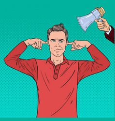 Pop art frustrated man closed ears with fingers vector