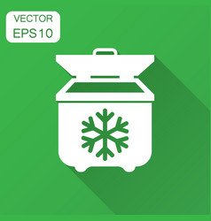 Portable fridge refrigerator icon in flat style vector