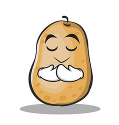Praying potato character cartoon style vector