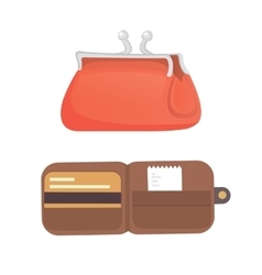 Purse Finance bag flat icons vector