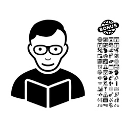 Reader Flat Icon With Bonus vector