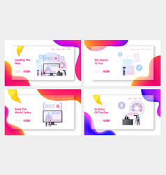 Reportage landing page template set tiny reporter vector