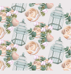 Roses flowers and cage pattern background vector
