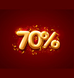 sale 70 off ballon number on red background vector image