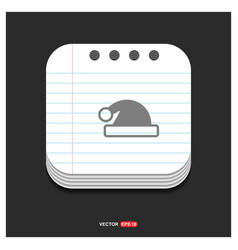 santa claus hat icon gray icon on notepad style vector image