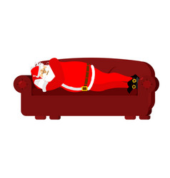 Santa claus sleeps on couch rest before work vector