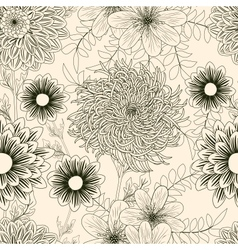 Seamless background with garden flowers vector image