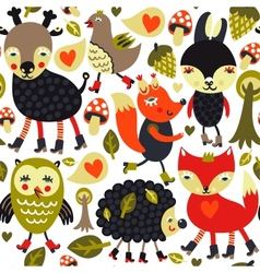 Seamless pattern with woodland animals and birds vector