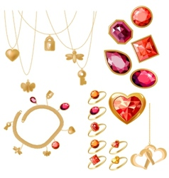 Set with rings gems and bracelet vector image