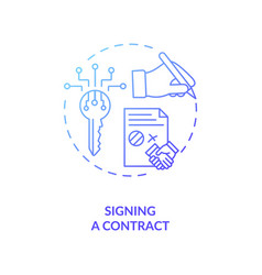 Signing a contract concept icon vector