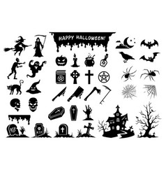 Silhouettes monsters and elements for halloween vector