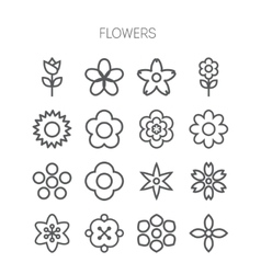Simple monochromatic flower icon set vector