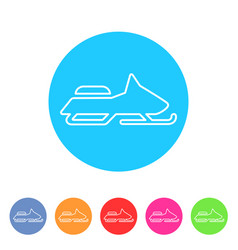 snowmobile ski extrim sport icon flat web sign vector image